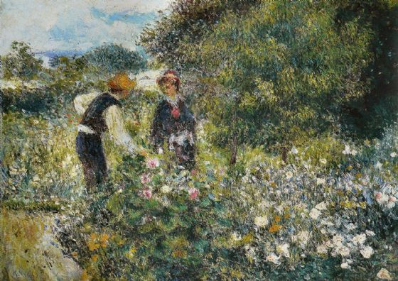 Renoir, Pierre Auguste: Flower Picking. Fine Art Print/Poster. Sizes: A4/A3/A2/A1 (004275)
